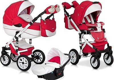 RIKO BRANO ECCO PRAM 3in1 RED + CARRYCOT + PUSH CHAIR