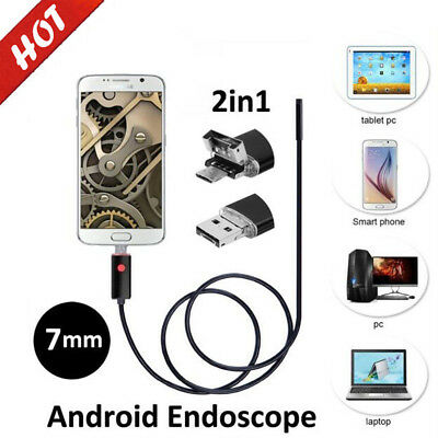 5M 7mm USB Endoscope Waterproof Borescope Inspection HD Camera for Android Phone