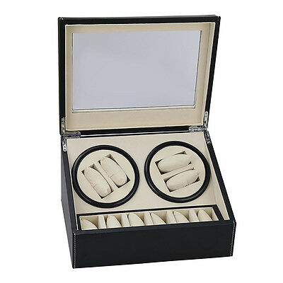 Brown Watch Winder Storage Display Case Box  Automatic Rotate Leather Wood Hot
