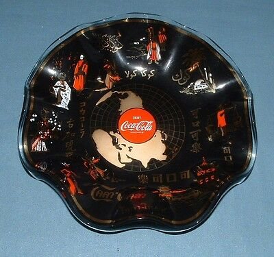 """Vintage Coca Cola Glass """"world Dish"""" Plate (Foreign Names) - 1967 - Used"""