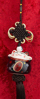 Suspension Maneki Neko-chat Japonais- Porte Bonheur-grand Modele- Noir -523-SD5