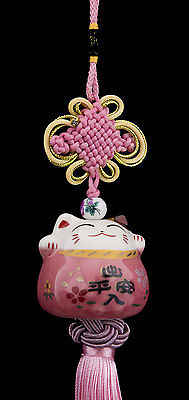 Suspension Maneki Neko-chat Japonais- Porte Bonheur-grand Modele-rose -524-SD5
