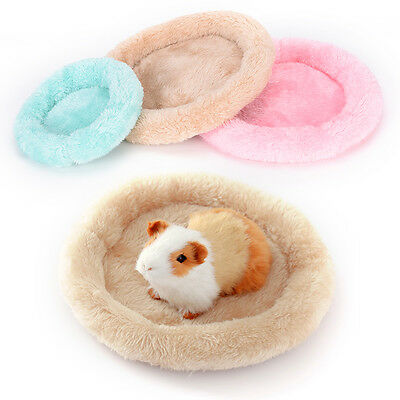 Fleece Guinea Pig Hamster Small Animal Winter Warm Round Cage Mat Sleeping Bed D