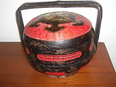 Antique Chinese Lacquered Woven Bamboo Tiered Wedding Bridal Basket
