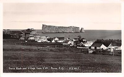 Perce Rock~Village Quebec Ca Taken From Southwest~Hutchinson Real Photo Postcard