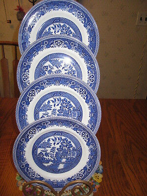 Four Myott Old Willow Staffordshire Stoneware Cake Plates/hand Engraved/england