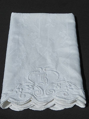 Antique Vtg Linen Damask Huck Towel Monogram IRISH CLOVER Unused Dated 1909