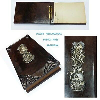 Rare old doctor prescriptions notebook wooden covers metal apply skull serpent