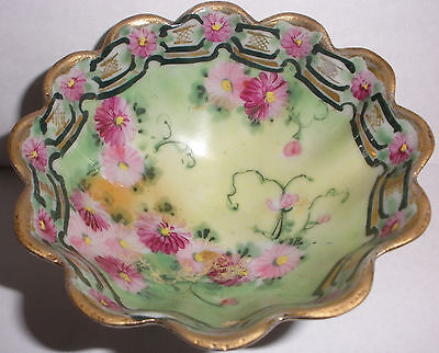I.E.&C. Co. Japan Antique Hand Painted flowers bowl candy dish