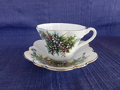 Vintage HERITAGE Bone China England Cup & Saucer Set  Purple, Pink & Green