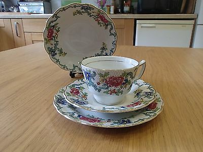 Pretty Booths Vintage Floradora tea set for one: cup, saucer,  side plate, bowl.