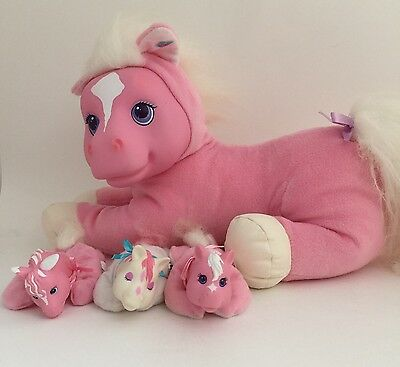 "Vintage Hasbro Pony Surprise 1992 Pink White Plush Toy 3 Foal Babies 12"" Horse"