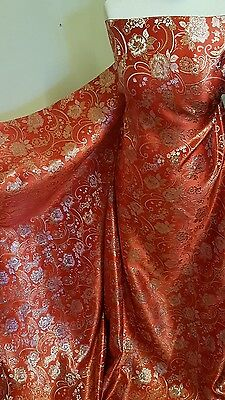 "2M red /gold COLOUR FLORAL METALLIC BROCADE /JACQUARD FABRIC 58"" WIDE"