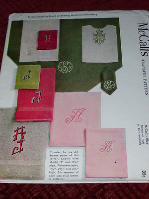1953 McCALL'S #1841 - BEAUTIFUL MONOGRAM & CROWN EMBROIDERY TRANSFER PATTERN  FF
