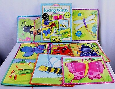 Friendly Bugs Lacing Sequence Toy 8 Cards Laces Counting Learning eeBoo