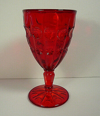 Fenton LG Wright 1963 Ruby Red Priscilla Water Goblet Glass 6.25""
