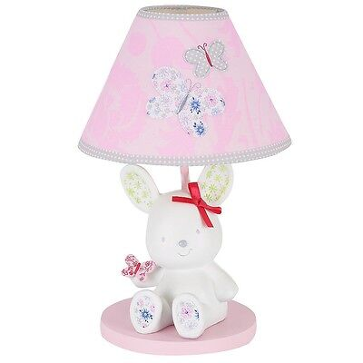 New Bunny Antique Chic Lamp Base & Shade Just Born Baby Infant Nursery Girls