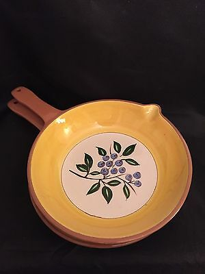"""TWO (2) Vintage STANGL Blueberry 8-1/2"""" Open Skillets Yellow & Blue Ovenproof"""