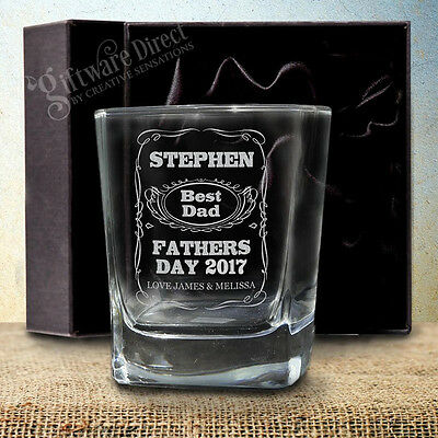 Personalised Fathers Day Engraved Whiskey Scotch Glass with Gift Box Option