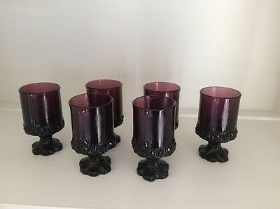 Tiffin Franciscan Madeira Plum Amethyst Purple Juice Water Footed Glass Vintage6