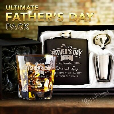 The Ultimate Fathers Day Personalised Gift Pack Glass & Flask Laser Engraved