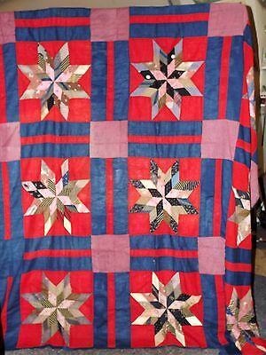 Vintage Strippy Stars Quilt Top in Red and Blue 1900's Era