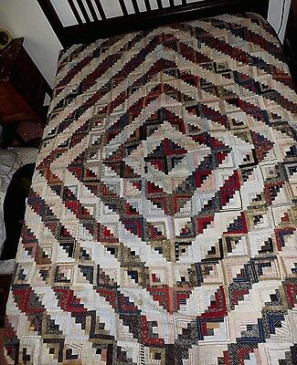 STUNNING Antique Quilt Top 1880-1910 Red White Blue Brown LOG CABIN