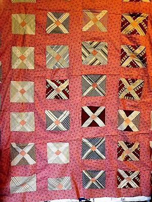 Antique Quilt Top X Block Cinnamon Pink Sash Novelty Fabrics 1880 to 1910 Era