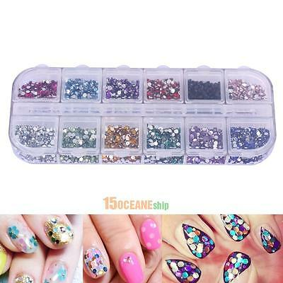3600pcs Nail Art Rhinestones Decoration 1.5mm Round Glitters Tips With Hard Case