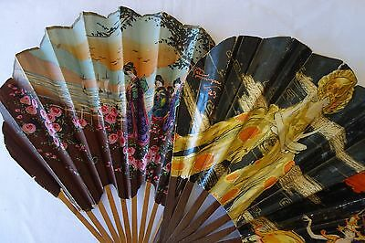 Lot of 2 Antique Vintage French 1910 - 1920 Art Deco Advertising Fans