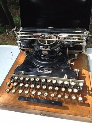 Hammond Multiplex typewriter on wood base with metal cover, Vintage typewriter