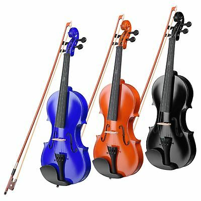Full Size 4/4 Violin Fiddle Natural Acoustic Wooden for Beginners Case Bow Rosin