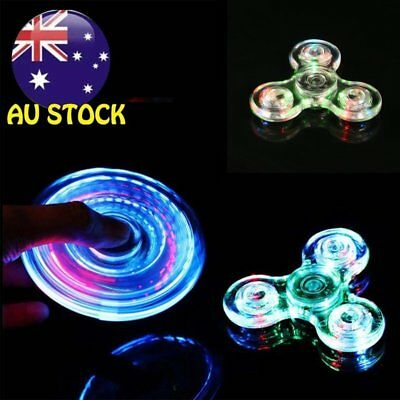 Crystal Led Light Fidget Spinner Rainbow EDC Hand Toy Stress Finger Spinners WW