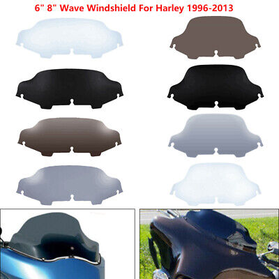 "6""/8"" Wave Windshield Windscreen For Harley Touring Street Glide FLHT 1996-13 US"