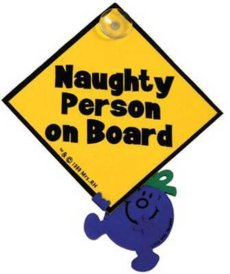 Indigo NAUGHTY PERSON ON BOARD SIGN Baby Car Sign Cute Design Suction Cup - BN