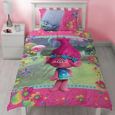 Trolls Quest Single Duvet Cover Set Kids Childrens Bedding - 2 Designs In 1