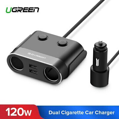 Ugreen Chargeur de Voiture 120W Allume Cigare 2 Ports 4.8A pour GPS iPhone LG G5