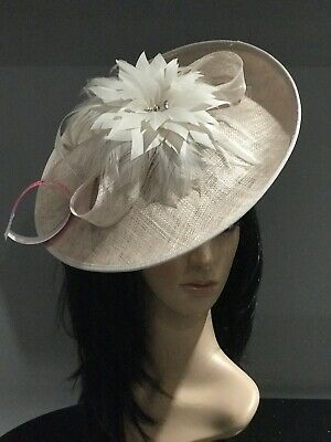 NIGEL RAYMENT OYSTER NUDE DISC FASCINATOR HAT WEDDING  MOTHER OF THE BRIDE