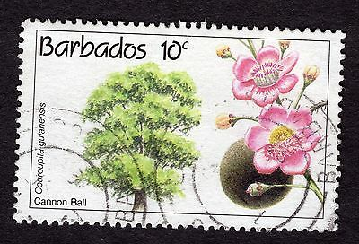 1992 Barbados 10c Flowering trees Cannon Ball SG975 GOOD USED R32876