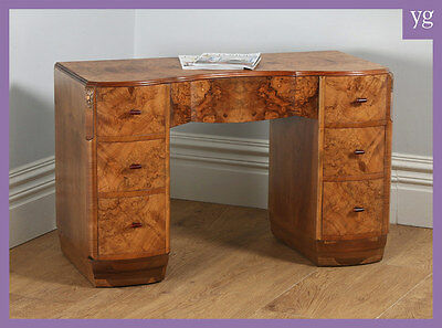 Antique English Art Deco Burr Walnut Serpentine Office Desk Writing Study Table