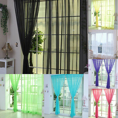 Coloful Door Window Curtain Floral Tulle Voile Drape Sheer Valances Home Decor