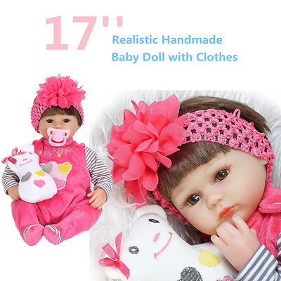 "Handmade Lifelike Baby Girl Doll 17"" Silicone Vinyl Reborn Newborn Gift +Clothes"
