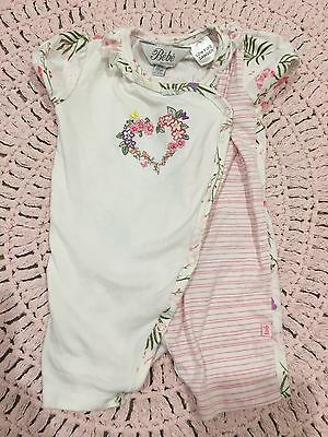 Bebe Short Sleeved Growsuit, Baby, Girls, Size 000 0-3 Months