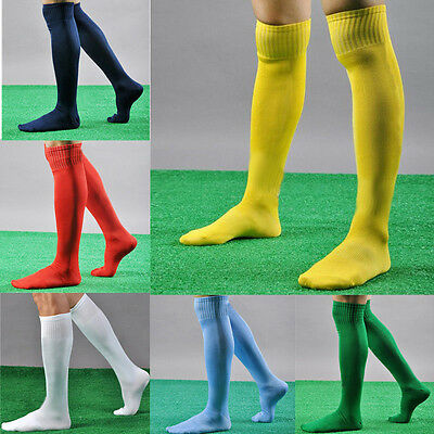 New Mens Ladies Kids Football Socks Rugby Hockey Sports Soccer Plain Long Socks