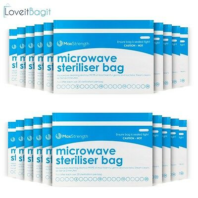 Microwave Steriliser Bags Premium 10pc Pack By Max Strength, Large Durable Steam