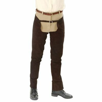Tough-1 Suede Leather Schooling Chaps Medium Brown