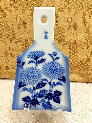 Blue White Floral Ceramic Asian Inspired Grater Lemon Zester Rare Collectible