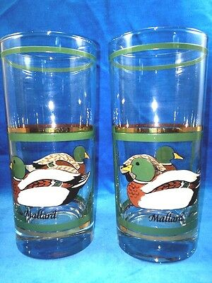 Set Of 2 Vintage Libbey Mallard Duck Glasses Hunting Bird Green Gold Bar Mint