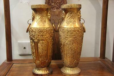Chinese Handmade engraved Copper 24K Gold Gilt Carve Flower Vase Bottle Pot Pair