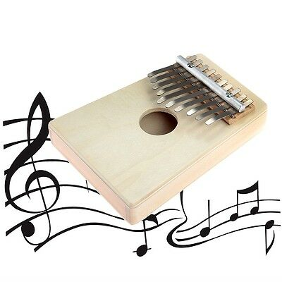 10 Keys Kalimba Mbira Likembe Sanza Thumb Piano Pine Light Yellow Instrument PP